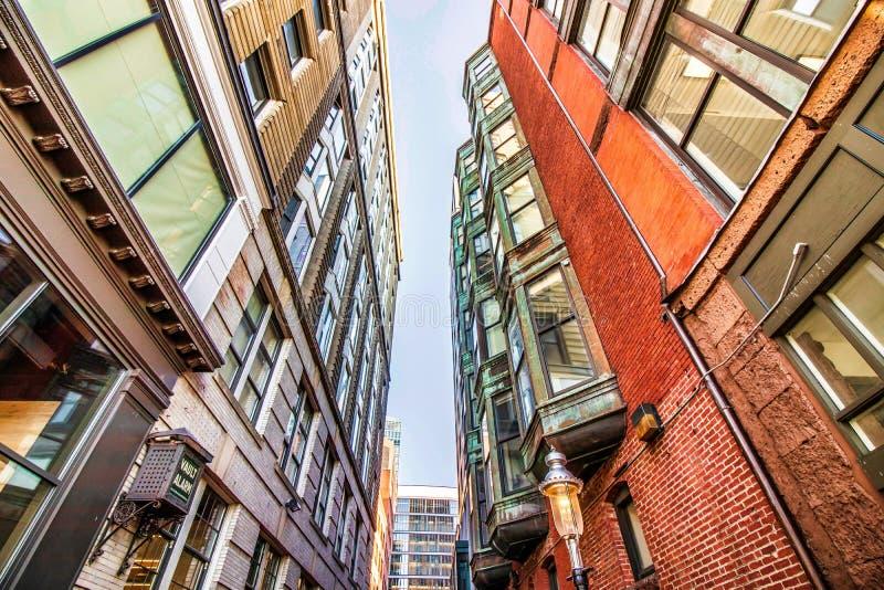Straat en gebouwen in Boston van de binnenstad, Massachusetts stock foto