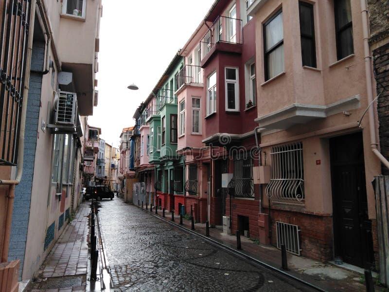 Straat in Fener, de Oude Stad van Istanboel stock foto's