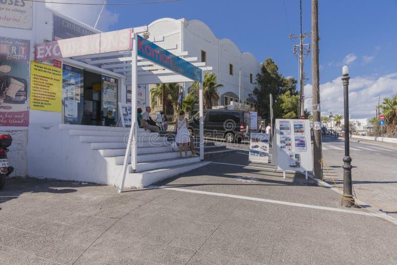Straat in Fira-dorp, Santorini royalty-vrije stock fotografie