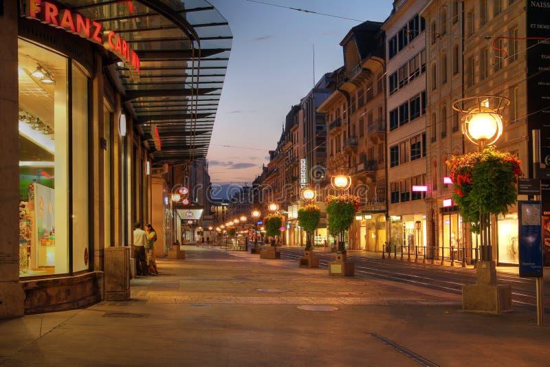 Straat in Genève, Zwitserland stock foto's