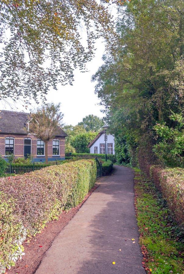 Straat in Giethoorn royalty-vrije stock afbeeldingen
