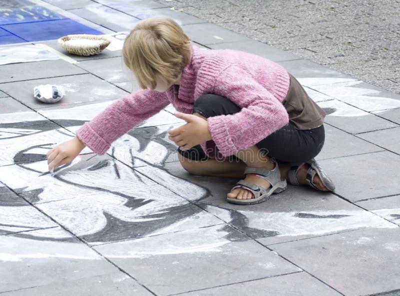 Straat het schilderen in Geldern royalty-vrije stock afbeelding