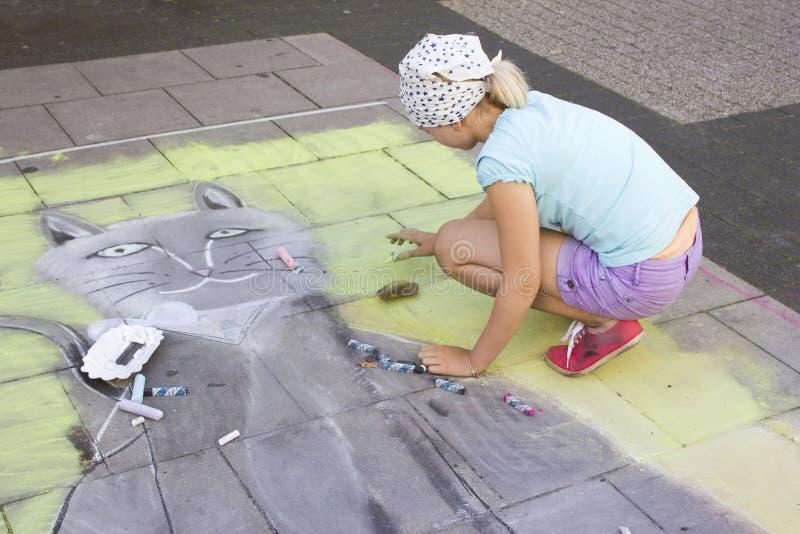 Straat het schilderen, Geldern, 2012, Duitsland stock foto's