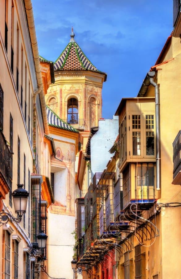 Straat in historisch centrum van Malaga - Spanje royalty-vrije stock fotografie