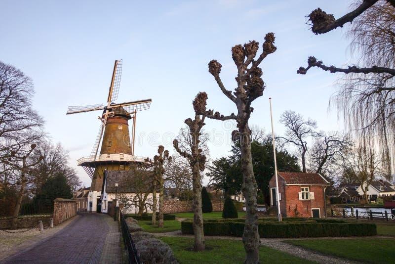 Straat in Holland met windmolen royalty-vrije stock afbeelding