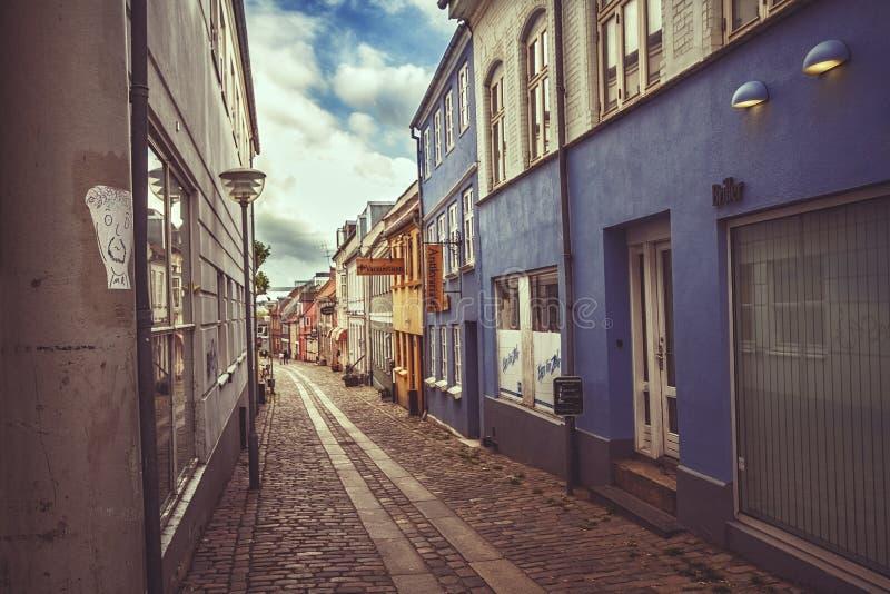 Straat in Horsens, Denemarken stock foto's