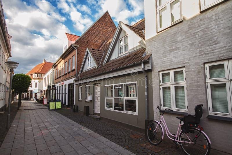 Straat in Horsens, Denemarken stock afbeelding