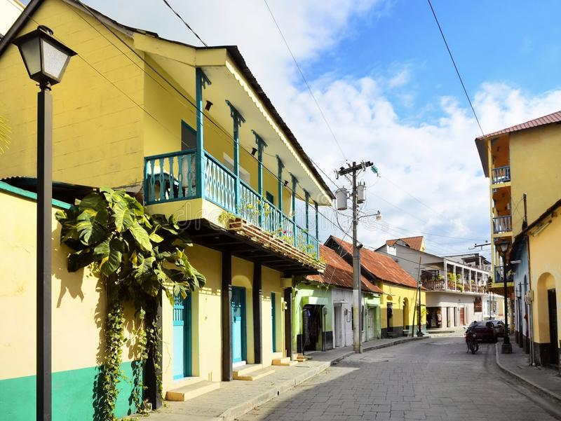 Straat in isla DE Flores Guatemala royalty-vrije stock fotografie