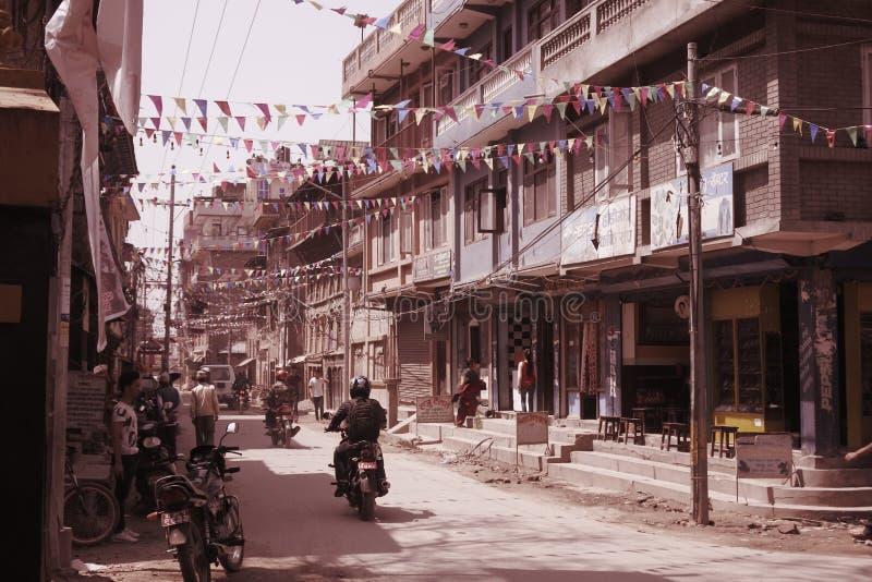 Straat in Katmandu, Nepal stock foto's