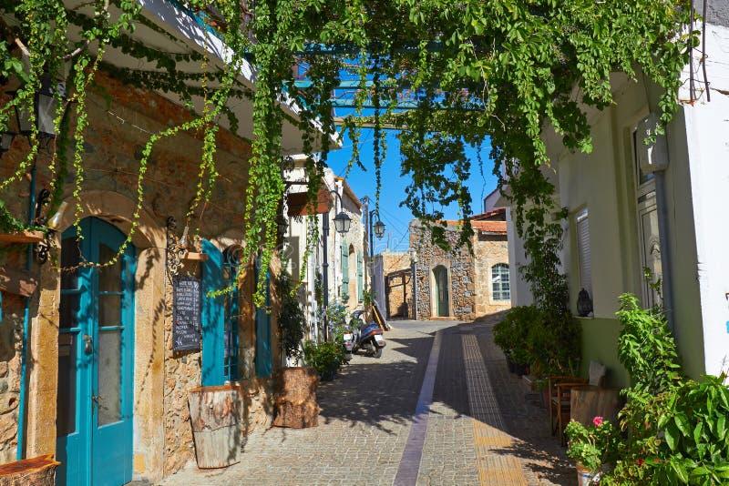 Straat in Kreta stock afbeelding