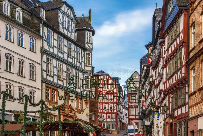 Straat in Marburg, Duitsland stock afbeeldingen