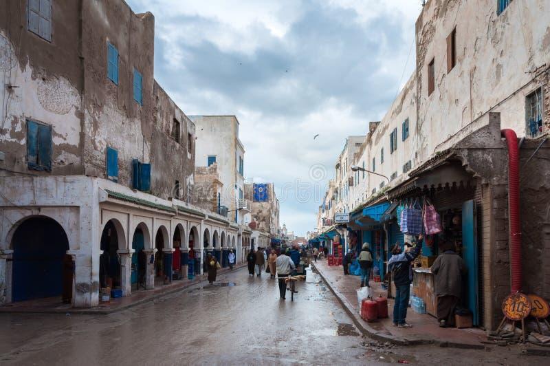 Straat in medina van Essaouira stock foto's