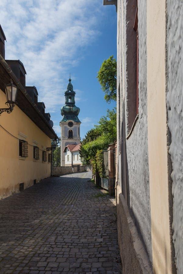 Straat met een kerk, Banska Stiavnica, Slowakije royalty-vrije stock fotografie