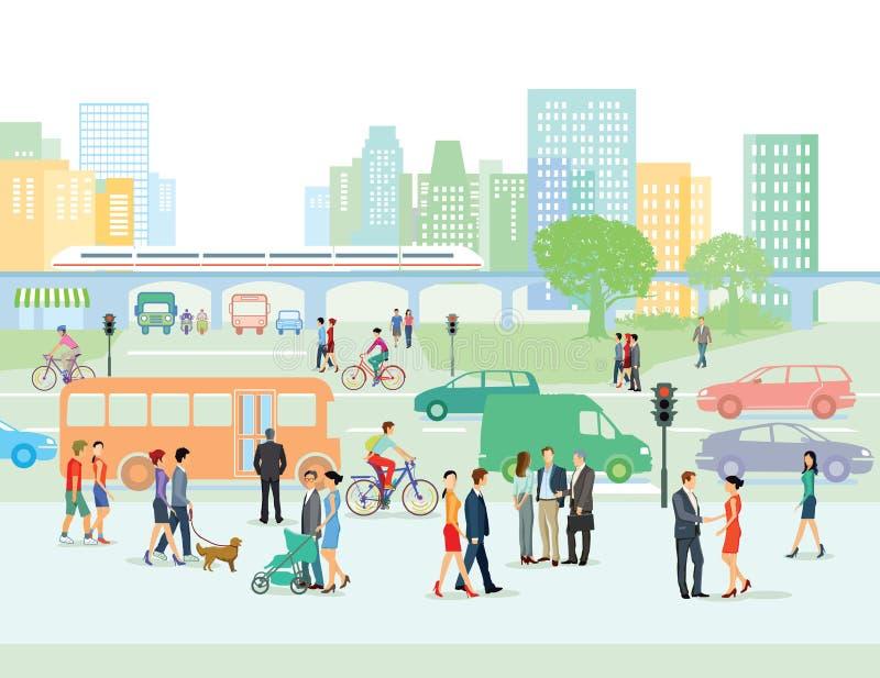 Straat met voetgangers en auto's royalty-vrije illustratie