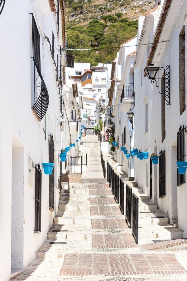 Straat in Mijas, royalty-vrije stock afbeeldingen