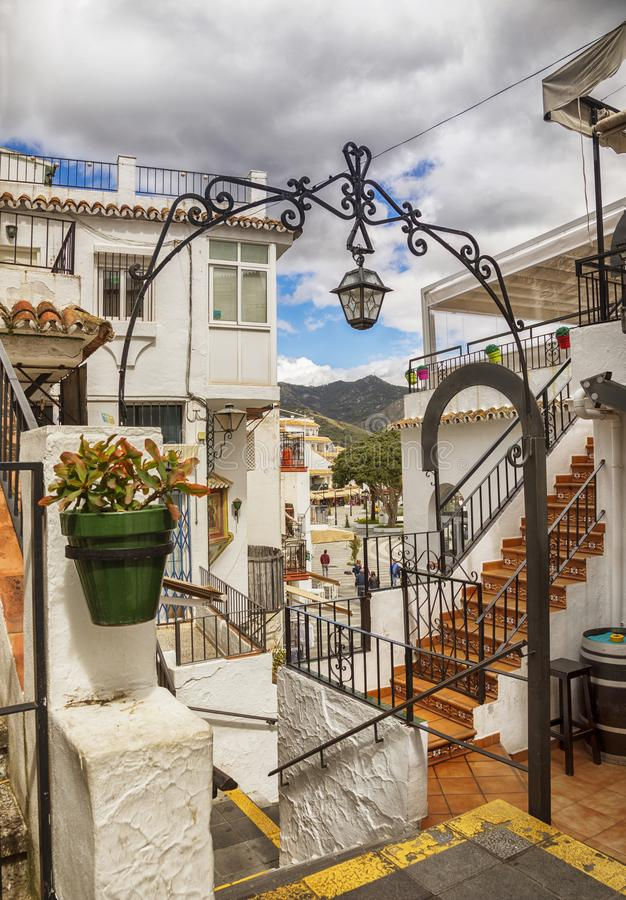 Straat in Mijas, Spanje royalty-vrije stock foto's