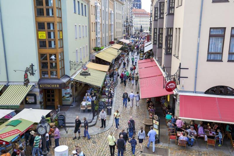 Straat Munzgasse in Dresden royalty-vrije stock afbeeldingen