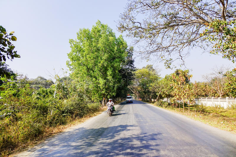 Straat in Myanmar stock foto's
