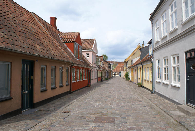 Straat in Odense stock afbeeldingen