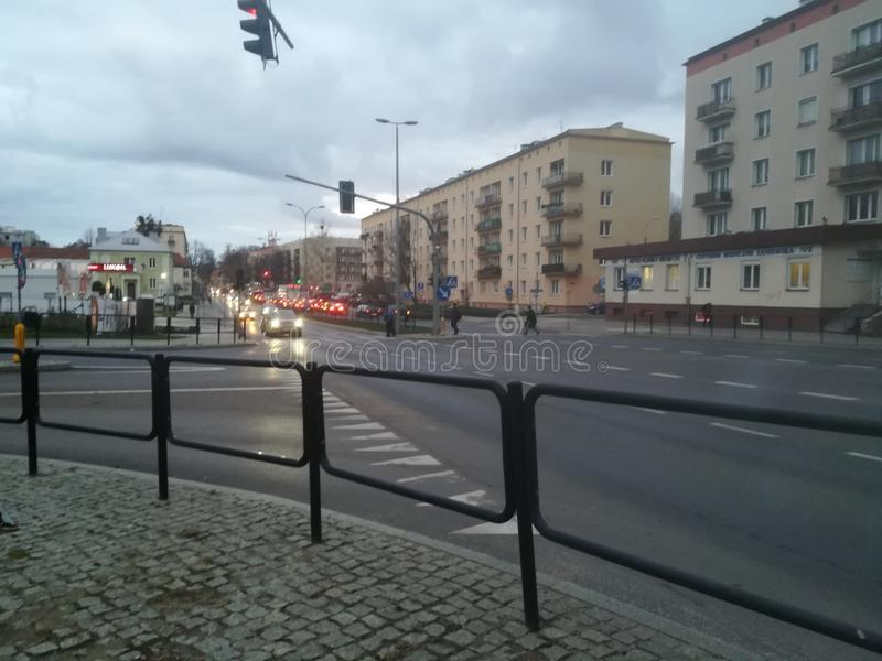 Straat in Olsztyn, Polen royalty-vrije stock afbeeldingen
