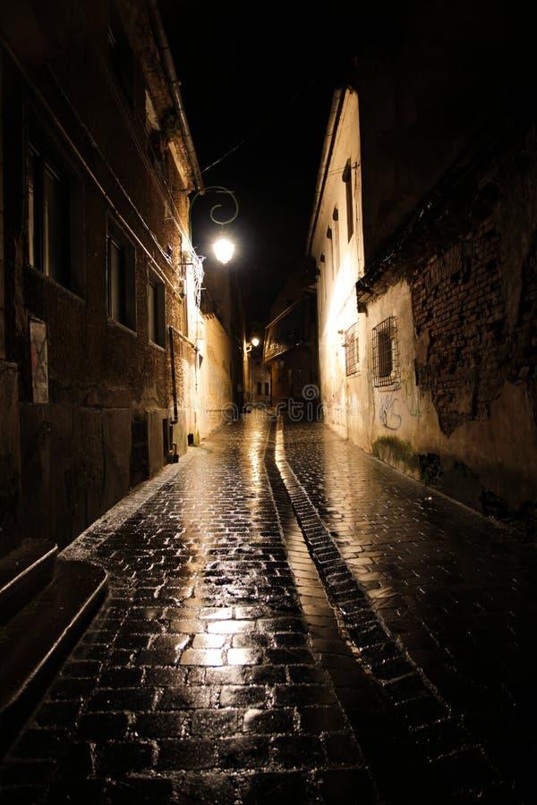 Straat op een regenachtige nacht stock afbeelding
