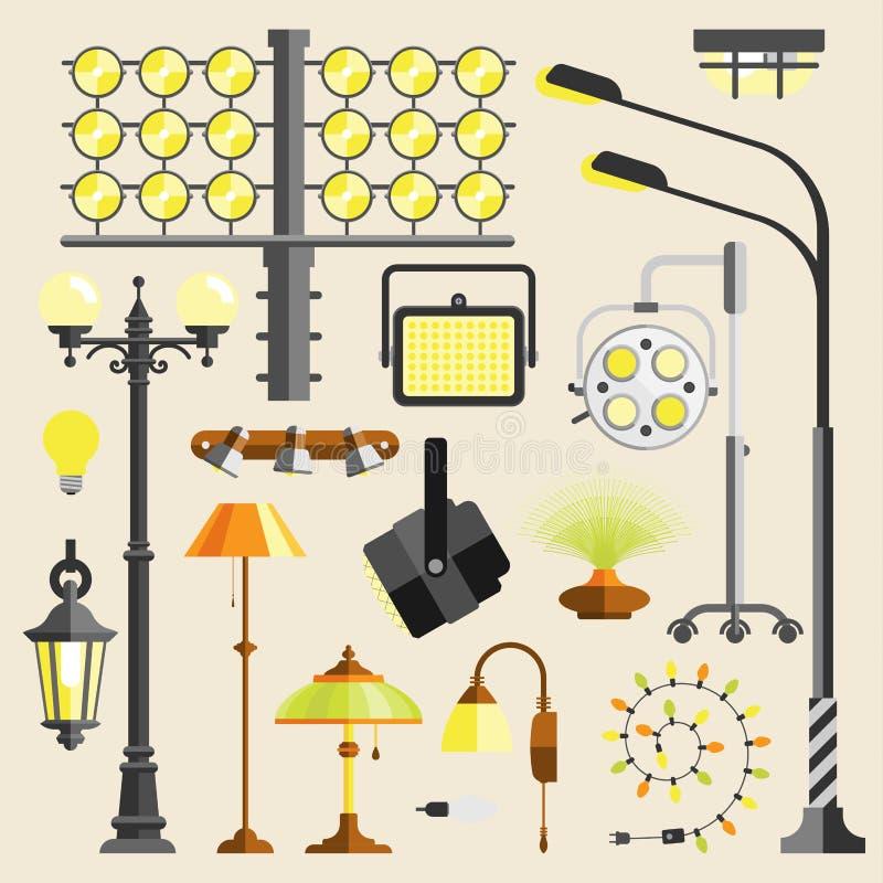 Straat openlucht en licht elektrisch het materiaal vectorhulpmiddel van huislampen vector illustratie