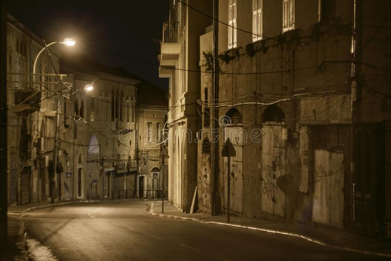Straat in Oude Jaffa in Tel Aviv stock foto