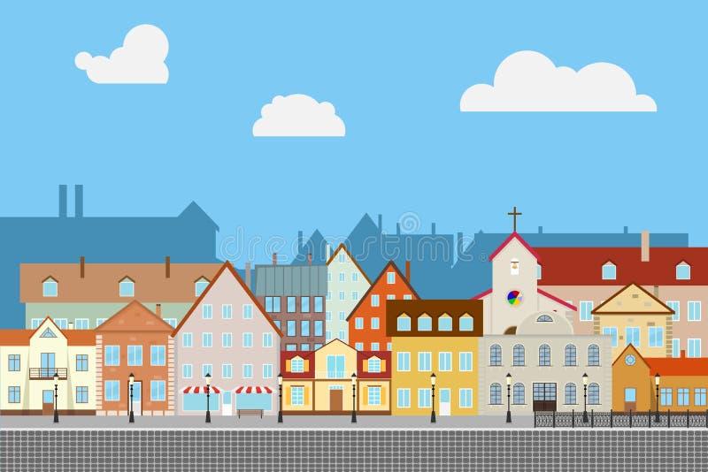 Straat oude stad met oude huizen Oude bestrating Stedelijke stad stock illustratie