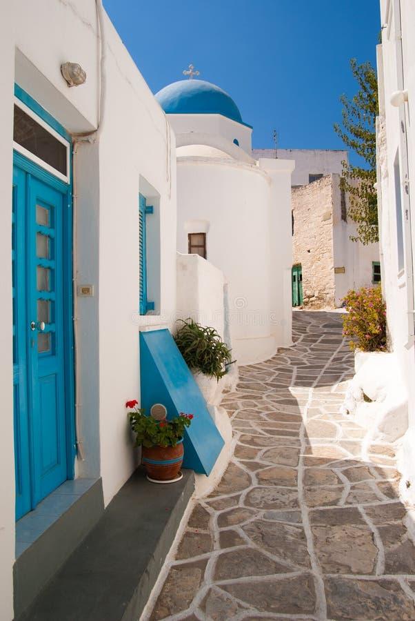 Straat in Paros stock afbeelding