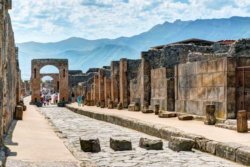 Straat in Pompei, Italië stock afbeelding