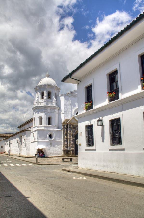 Straat in Popayan, Colombia stock foto's