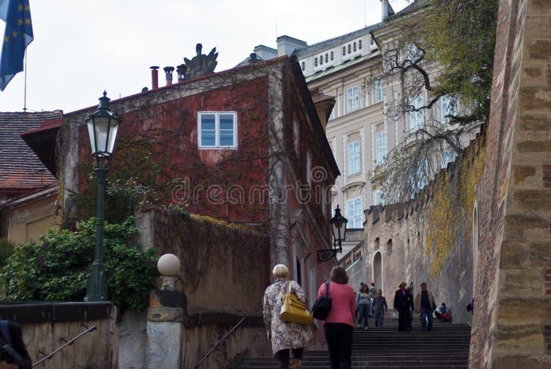 Straat in Praag Czechia stock foto