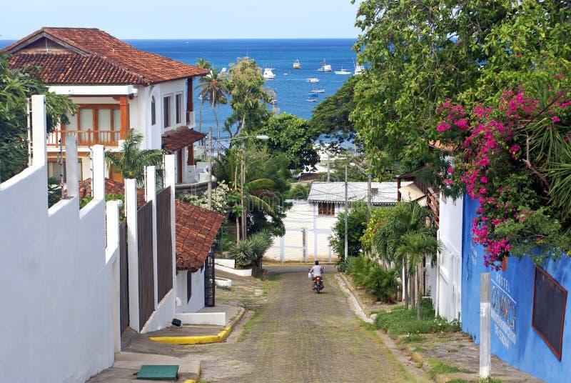 Straat in San Juan del Sur in Nicaragua royalty-vrije stock fotografie