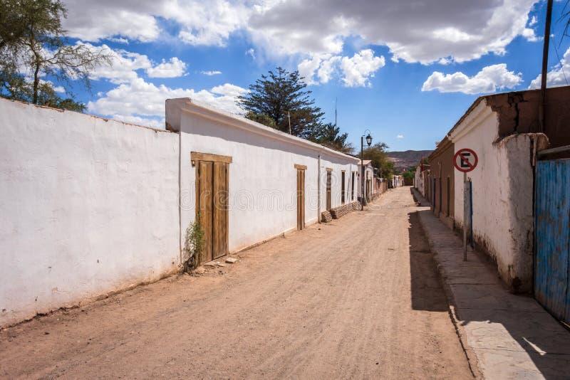 Straat in San Pedro de Atacama, Chili stock afbeelding