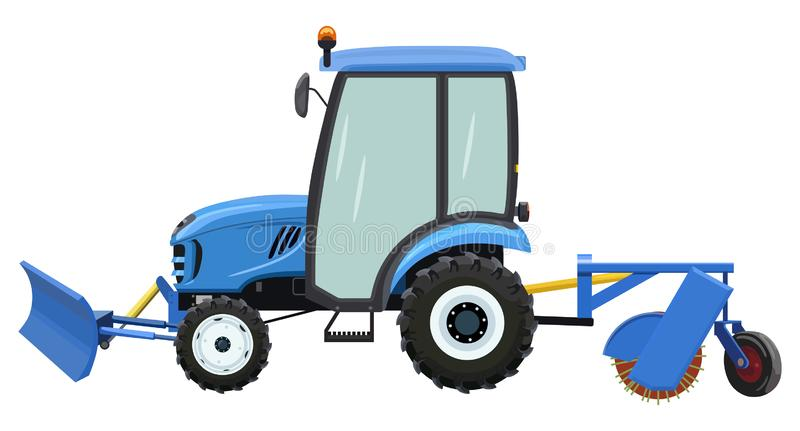 Straat schoonmakende tractor stock illustratie