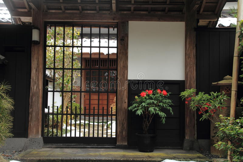 Straat Shiomi -shiomi-nawate (kasteelstad) in Matsue stock foto's