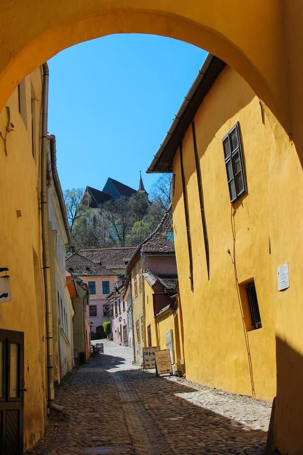 Straat in Sighisoara royalty-vrije stock foto's