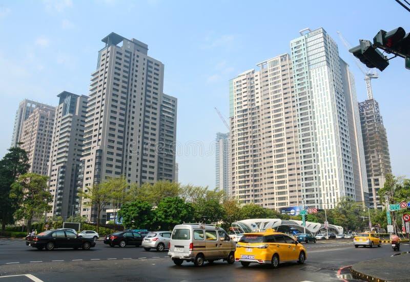 Straat in Taichung-stad, Taiwan stock afbeeldingen