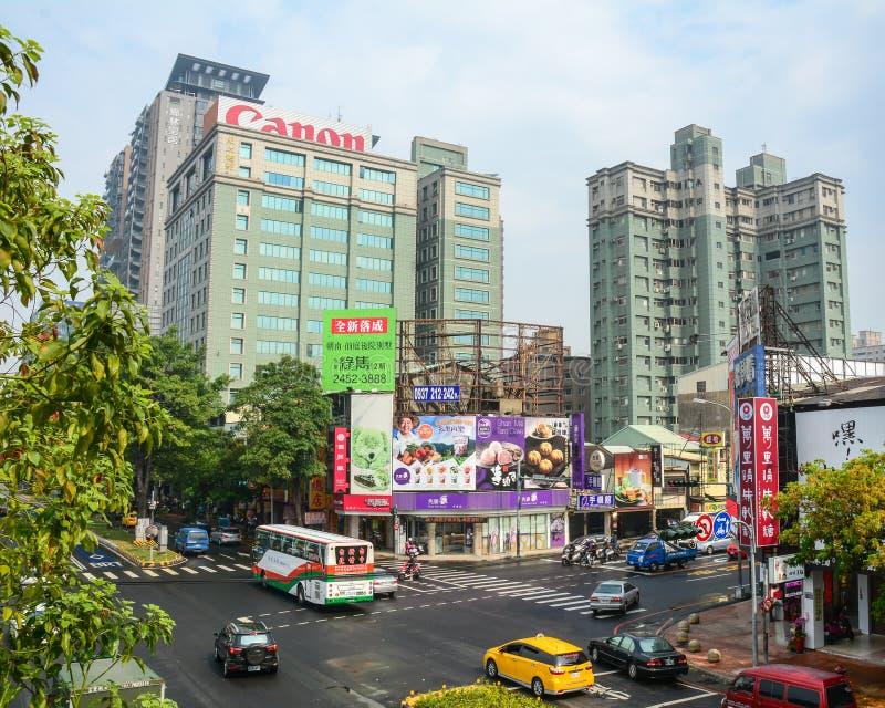 Straat in Taichung-stad, Taiwan royalty-vrije stock afbeeldingen