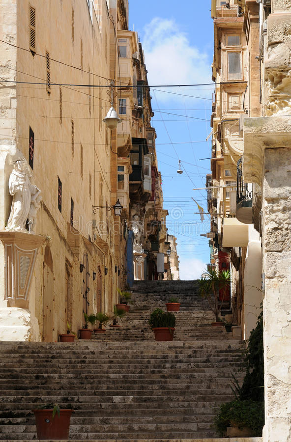 Straat in Valletta royalty-vrije stock foto's