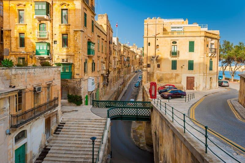 Straat in Valletta Malta royalty-vrije stock afbeelding