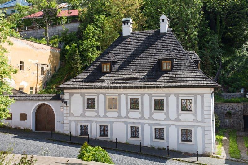 Straat van Banska Stiavnica, Slowakije royalty-vrije stock afbeeldingen