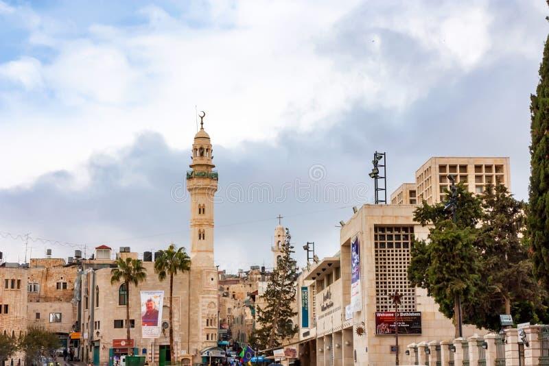 Straat van Bethlehem op bewolkte dag stock afbeelding