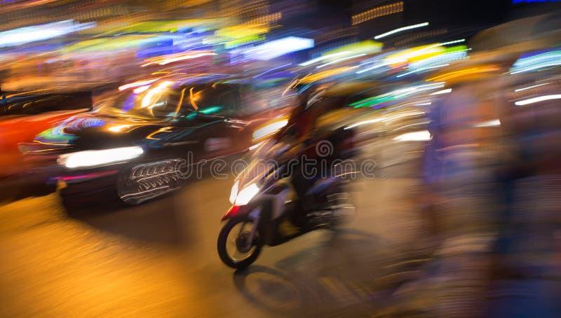 Straat van de motie de Thaise nacht royalty-vrije stock afbeeldingen