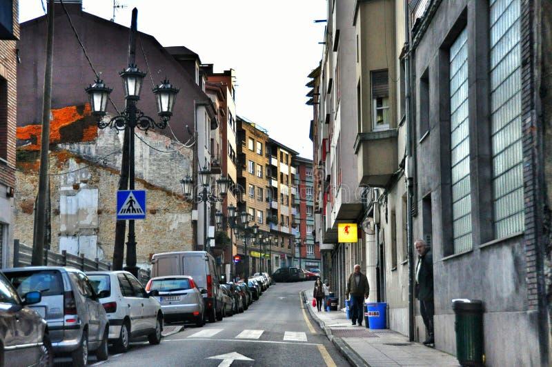 Straat van de Spaanse stad van Oviedo provincie van Asturias royalty-vrije stock fotografie
