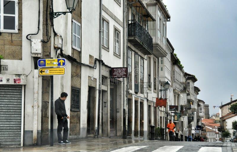 Straat van de Spaanse stad van Oviedo provincie van Asturias stock fotografie