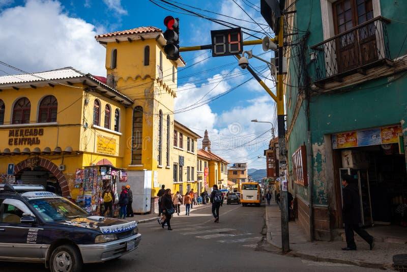 Straat van de stad van Potosi stock fotografie