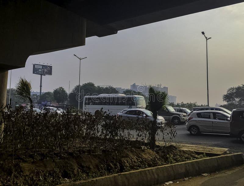 Straat van Gurgaon/Gurugram, New Delhi royalty-vrije stock foto