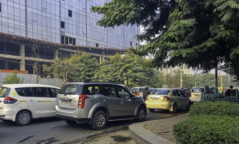 Straat van Gurgaon/Gurugram, New Delhi royalty-vrije stock afbeelding