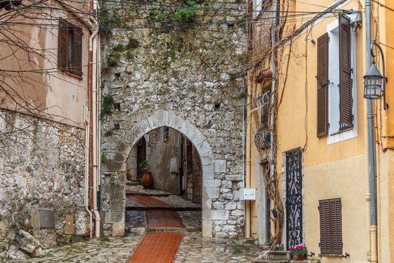Straat van het dorp van La Turbie, de Provence royalty-vrije stock fotografie